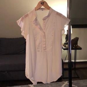 White ruffle cap sleeve shirt